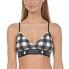 Women's Soft Spandex Triangle Adjustable Plaid Bralette