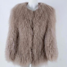Real Mongolian Sheep Fur Coat w/Pockets