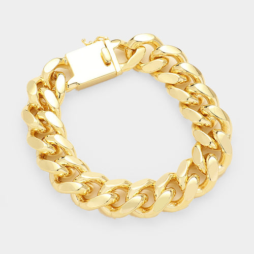 Gold Plated Heavy Link Chain Bracelet