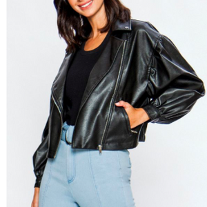 Puffed Sleeve Moto Jacket