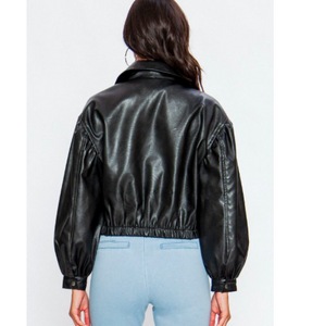 Faux Leather Puffed Sleeve Moto Jacket