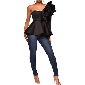 1-Shoulder Ruffle Pep Top