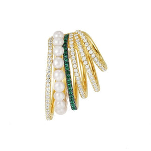 Single Pearl & Emerald Ear Cuff