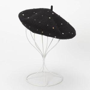 Hand Sown Wool Rhinestone Beret (more colors)