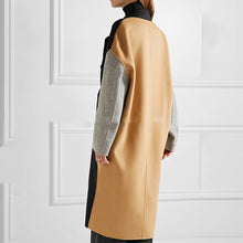 Color Block Double Breasted Coat