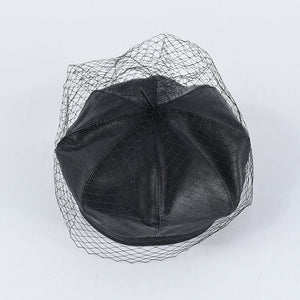 Veiled Leather Beret