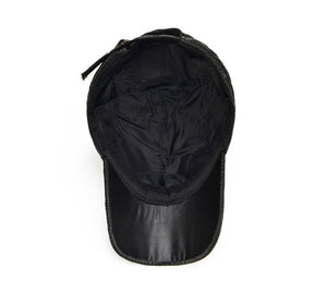 Genuine Leather Quilted Cap