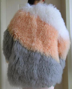 Mongolia Lamb Tri-Color Coat