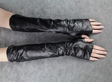 Long Fingerless Faux Leather Gloves