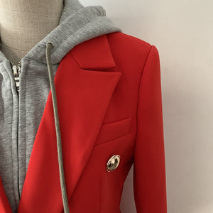 Double Breasted Hoodie Blazer