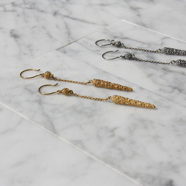 Darius Collection Long Drop Earrings with Chain Wire