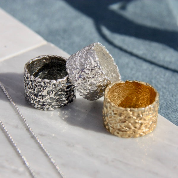 Asphalt Collection Band Wide Ring