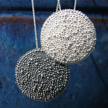 large silver round textured armor chic medallion pendant necklace
