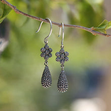 Silver dangle flower teardrop earrings