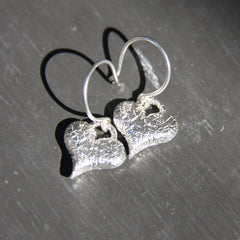Trashed Collection Charm Heart Earrings on Wire