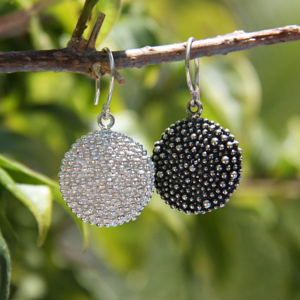 silver round textured medallion boho hippie chic earrings