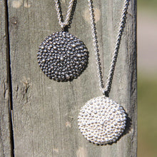 silver round textured medallion boho hippie chic pendant necklace