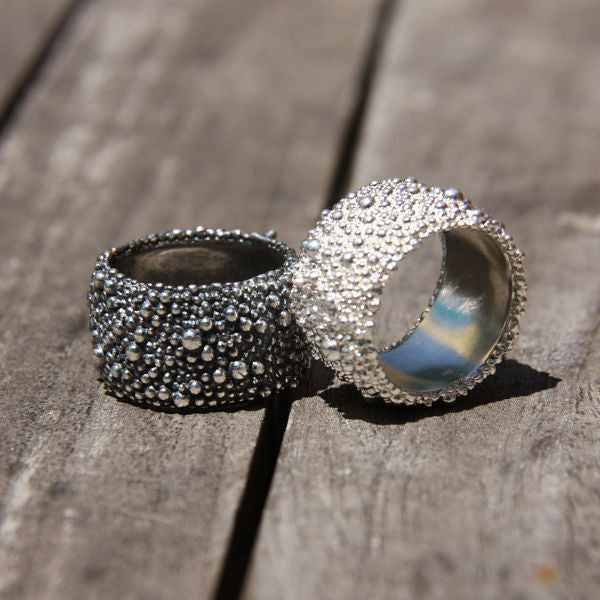 silver wide texture edgy boho hippie chic ring