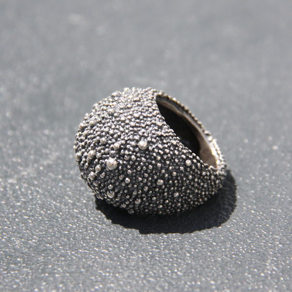 Silver wide textured edgy boho hippie chic cocktail ring