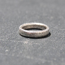 silver trashed textured boho hippie chic band ring