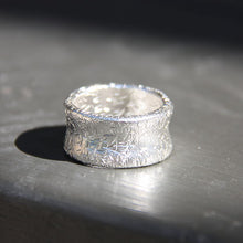 silver wide trashed textured boho hippie chic band ring