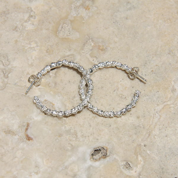 Silver textured mini hoop earrings