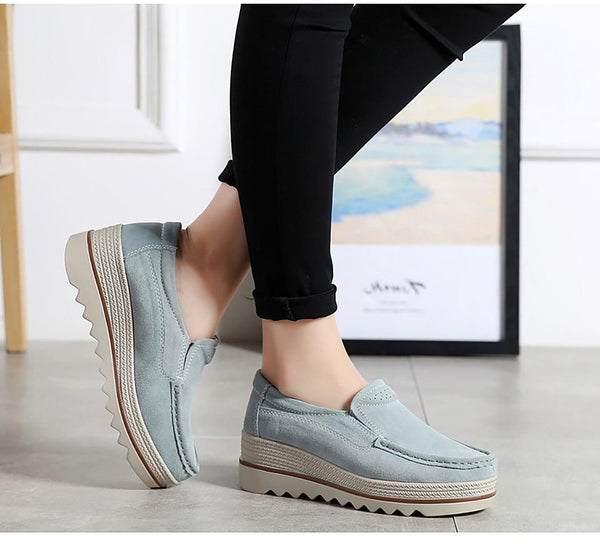 Women's Leather Platform Loafers