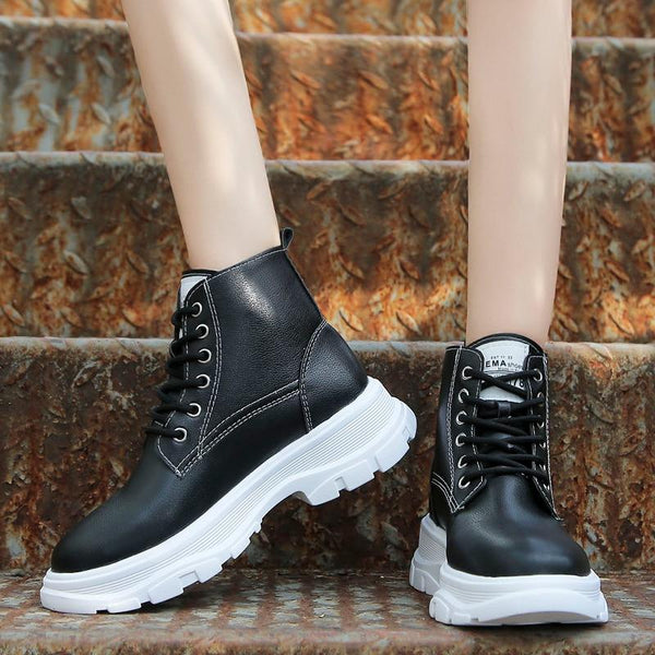 Women's Plush Lace-Up Ankle Boots