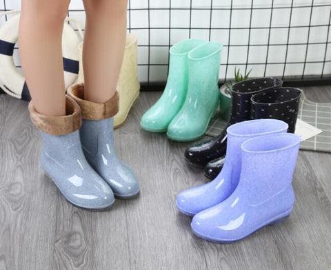 Women's Mid Calf Rain Boots (fur lining is optional)