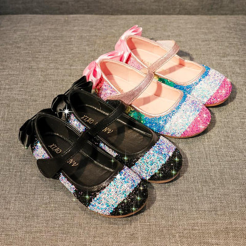 Children's Rainbow Glitter Flats (available in black and white)