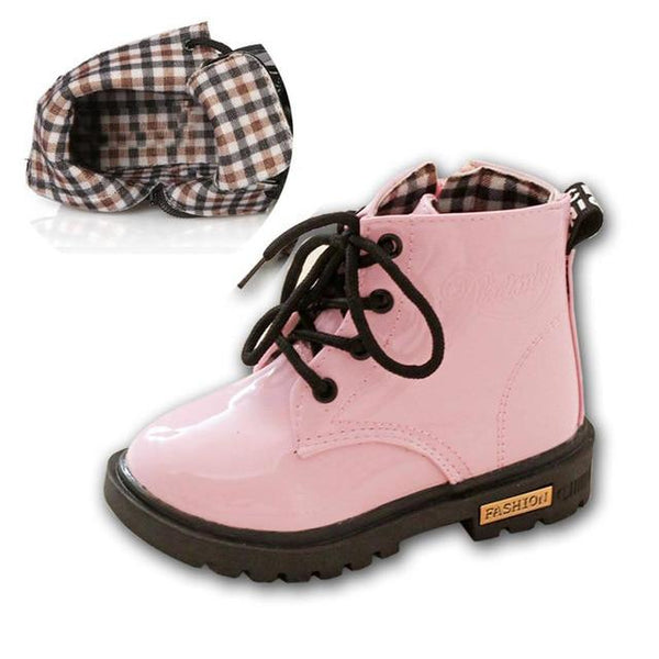 Kids Lace Up Leather Boots