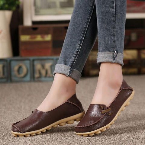 Women's Leather Comfort Flats - The Shoe Shelf