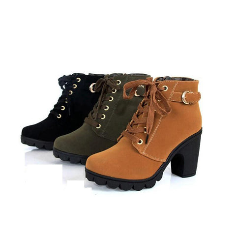 Women's Soft Leather Platform Boots - The Shoe Shelf