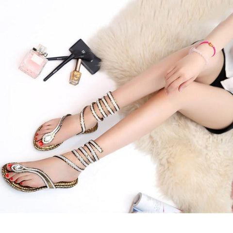 Women's Roman Gladiator Wrap-Up Sandals - The Shoe Shelf