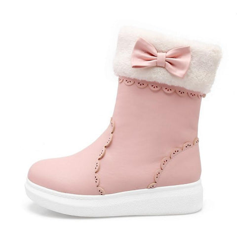 Girls Snow Boots with Cute Bow - The Shoe Shelf