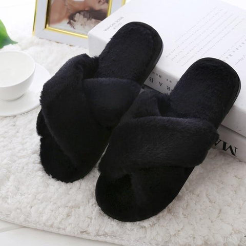 Women's Indoor Faux Fur Slides/Slippers