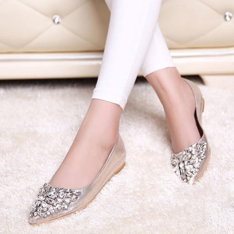Women's Shiny Rhinestone Ballet Flats - The Shoe Shelf