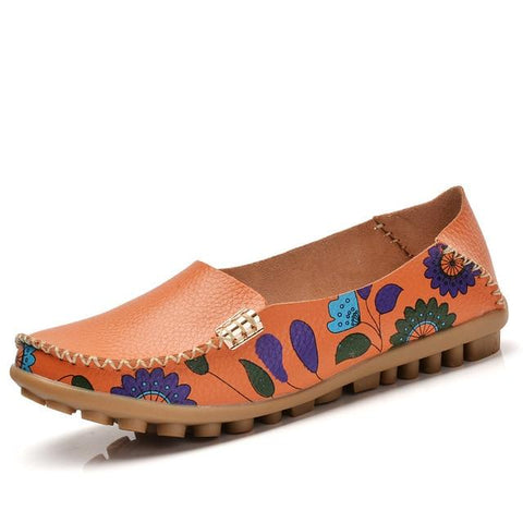 Women's Flower Print Leather Loafers