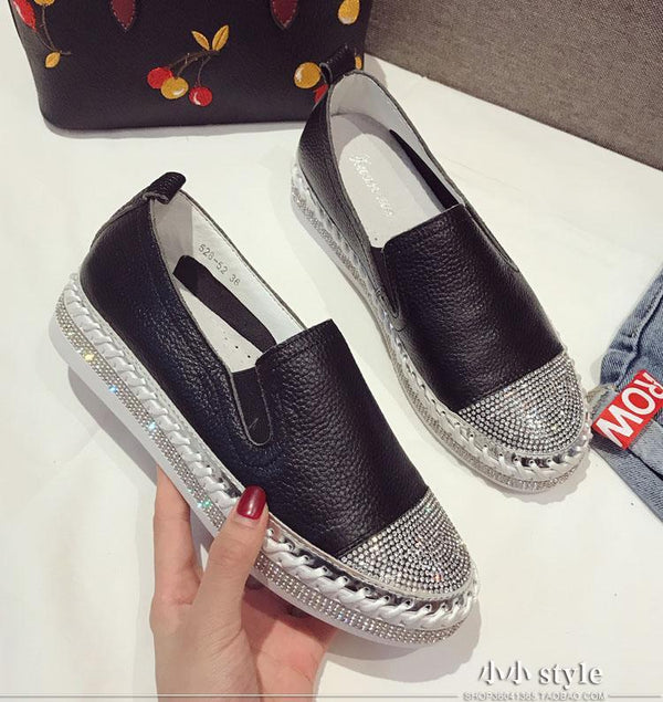 Women's Leather Loafers With Rhinestones