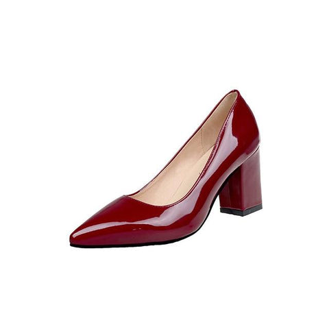 Women's Solid Color Wide Heels