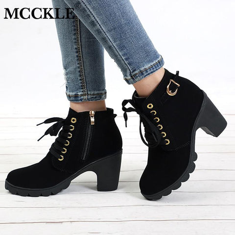 Women's Platform Boots with Buckle