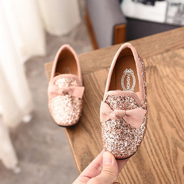 Girls Sparkly Bowtie Flats/Loafers
