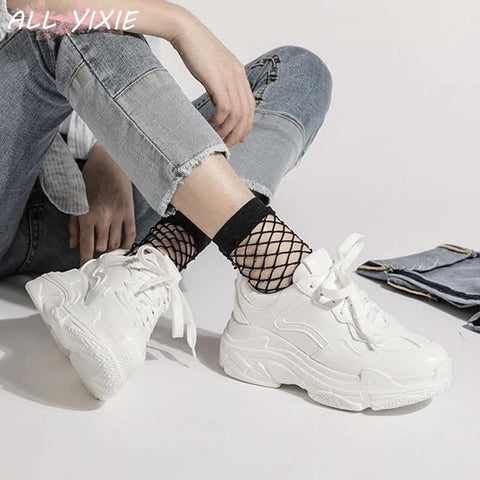 Women's White Platform Sneakers