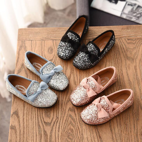 Girl's Glittery Loafers With Bow