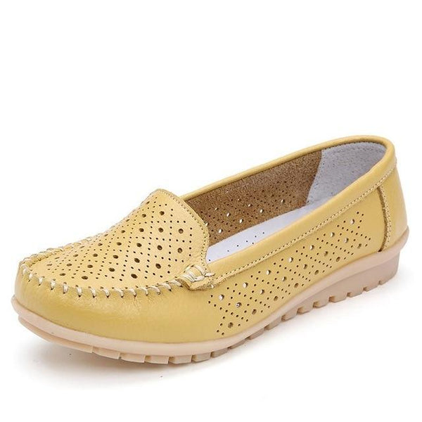 Women's Leather Cutout Loafers/Ballerina Flats