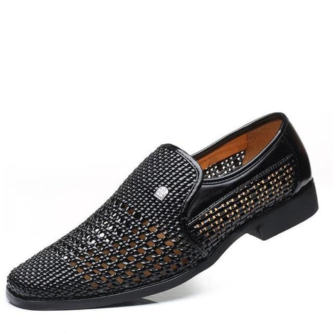 Men's Leather Hollow Weave Loafers/Sandals