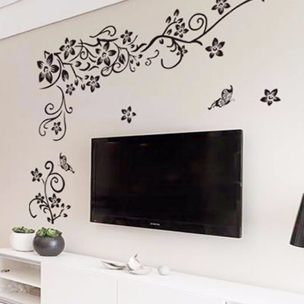 romantic flower vinyl wall art - decorative decal outlet