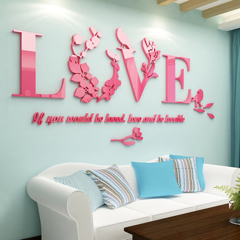 High Quality Love Acrylic 3d Wall Sticker