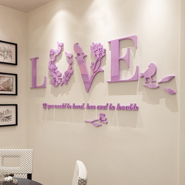 511dfd4f95 Love Acrylic 3d Wall Sticker - Decorative Decal Outlet