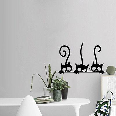 Three Black Cat Wall Stickers